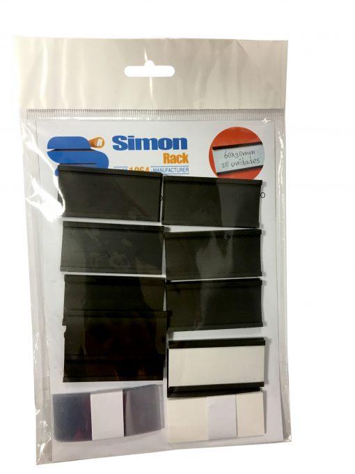 SR90320000049 BLISTER 20 ETIQ. MAGNETICA 60x30mm SimonRack