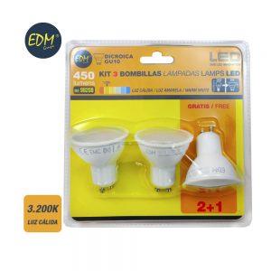 EDM98208 iluminacion pack bombilla led dicroica gu10 edm