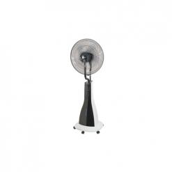 Ventilador nebulizador VNH90 3 velocidades. Oscilación 90º. Caudal de aire 4.112 m3/h. Mando a distancia y temporizador 7,5 h. Depósito 3 l. 90W. Hélices ø 40 cm. ø45xh.123 cm Marca HABITEX